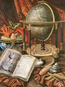 Still Life with a Globe, Books, Shells and Corals by Simon Renard De Saint-andre