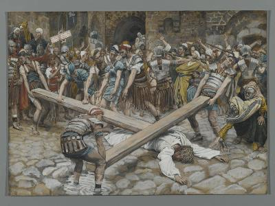 Simon the Cyrenian Compelled to Carry the Cross with Jesus-James Tissot-Giclee Print