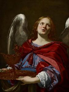 Angels with Attributes of the Passion: Angel Holding the Vessel and Towel for Washing the Hands of by Simon Vouet