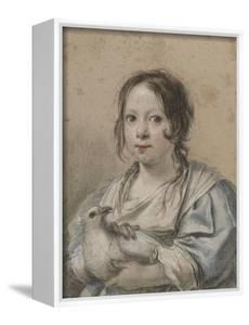 Portrait d'Angélique Vouet vers cinq ans tenant une colombe by Simon Vouet