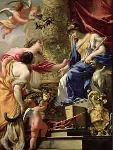 Prudence Leading Peace and Abundance, circa 1645 by Simon Vouet
