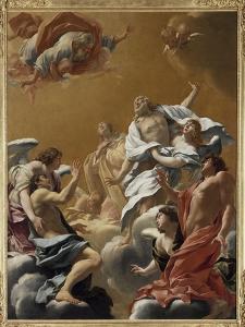 Saint Eustache et sa famille porté au ciel dit aussi L'Apothéose de saint E by Simon Vouet