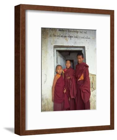 Portrait of Three Tibetan Buddhist Monks, Tashi Jong Monastery, Tibet, China