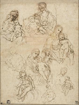Sketches of the Virgin and Child, and the Holy Family, 1642-48