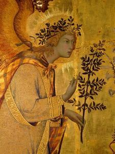 Annunciation. Detail: the Angel of the Annunciation (1333) by Simone Martini