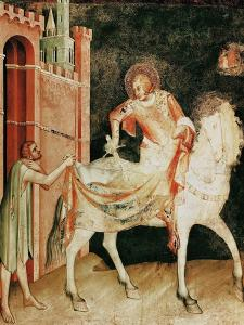 St. Martin Sharing His Cloak with the Beggar, from the Life of St. Martin, 1326 by Simone Martini