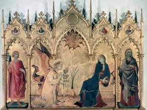 'The Annunciation and Two Saints', 1333. Artist: Simone Martini by Simone Martini