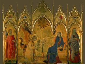 The Annunciation, Saints Asano and Margaret, Prophets Jeremiah, Ezechiel, Isaiah, and Daniel by Simone Martini