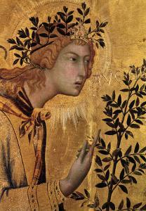 The Annunciation with St. Margaret and St. Asano, Detail of the Archangel Gabriel, 1333 by Simone Martini