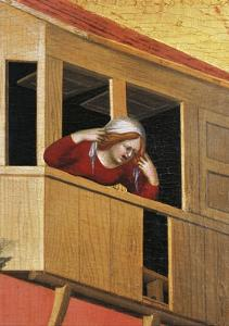 Woman Leaning over Balcony by Simone Martini