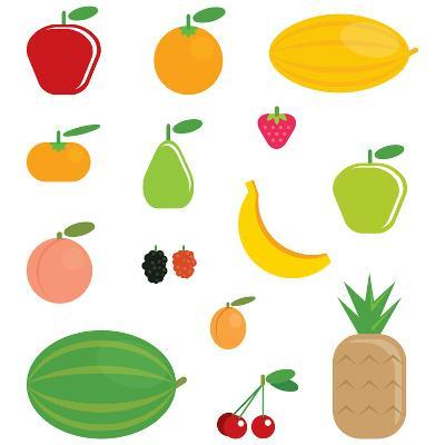 Simple Cartoon Shinny Fruits Collection-Thodoris Tibilis-Art Print