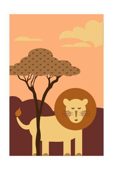 Simple Lion - Orange-Lantern Press-Art Print