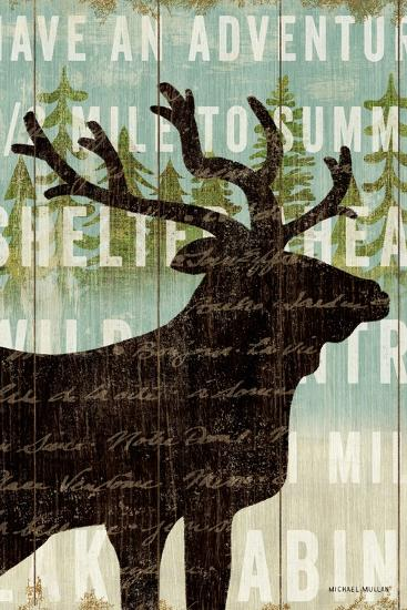 Simple Living Elk Script-Michael Mullan-Art Print