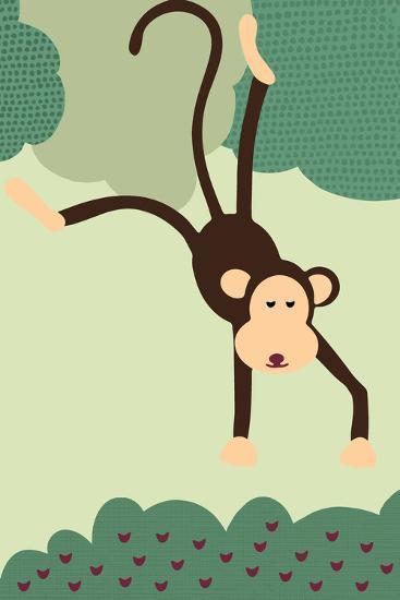 Simple Monkey - Green-Lantern Press-Art Print