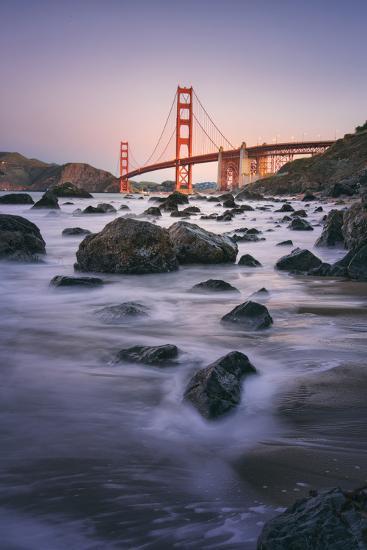 Simple Peaceful Morning Shore, Golden Gate Bridge, San Francisco-Vincent James-Photographic Print