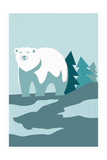 Simple Polar Bear - Blue-Lantern Press-Art Print