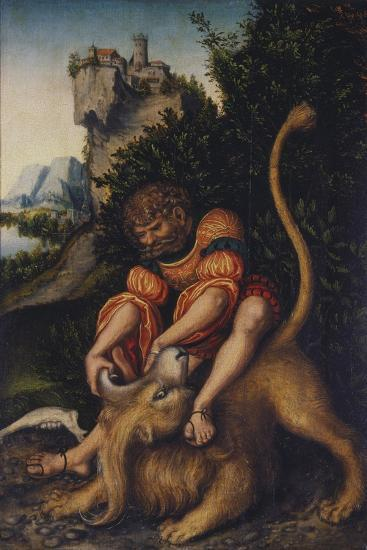 Simson, Fighting with the Lion, C. 1520-1525-Lucas Cranach the Elder-Giclee Print