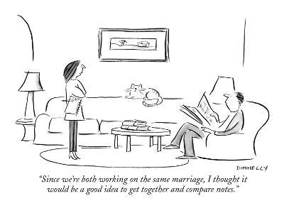 """""""Since we're both working on the same marriage, I thought it would be a go?"""" - New Yorker Cartoon-Liza Donnelly-Premium Giclee Print"""