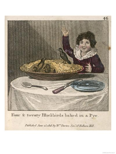 Sing a Song of Sixpence a Bag Full of Rye Four-And-Twenty Blackbirds Baked in a Pie--Giclee Print