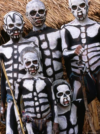 Sing Sing Group Members with Skeleton-Like Body Paint at Mt. Hagen Cultural Show, Papua New Guinea-John Banagan-Photographic Print