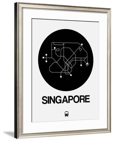 Singapore Black Subway Map-NaxArt-Framed Art Print