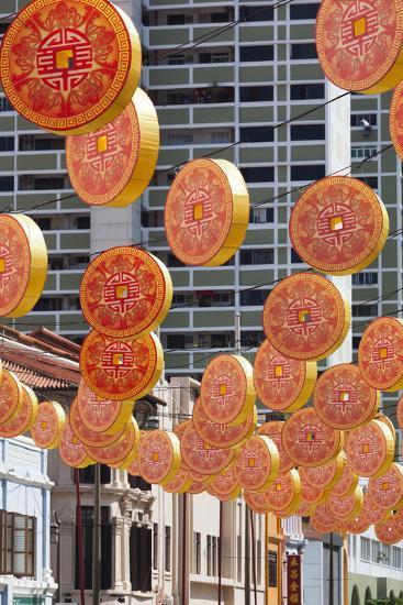 Singapore, Chinatown, Decorations for Chinese New Year-Walter Bibikow-Photographic Print
