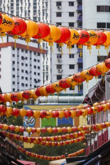 Singapore, Chinatown, Lantern Decorations-Walter Bibikow-Photographic Print