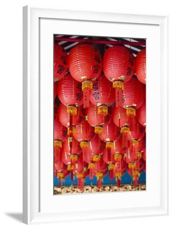 Singapore, Chinatown, Thian Hock Keng Temple, Chinese Red Lanterns-Walter Bibikow-Framed Photographic Print