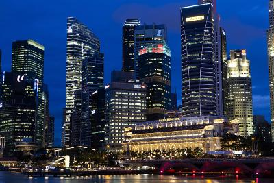 Singapore City Skyline at Dawn with Fullerton Hotel in Front-Harry Marx-Photographic Print