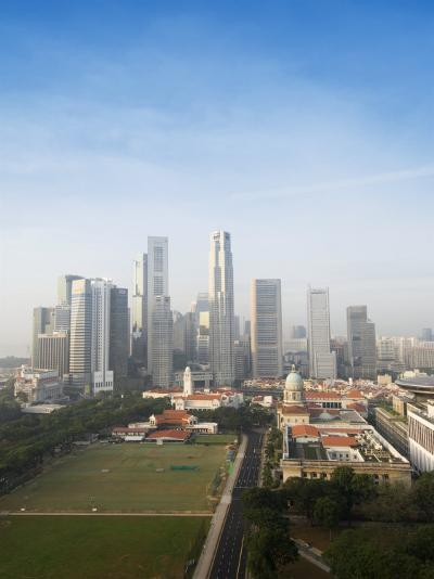 Singapore City Skyline at Dawn with the Padang and Colonial District in the Foreground, Singapore-Amanda Hall-Photographic Print