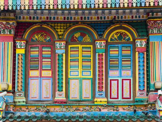 Singapore, Republic of Singapore, Southeast Asia. Colorful architecture in Little India.-Marco Bottigelli-Photographic Print