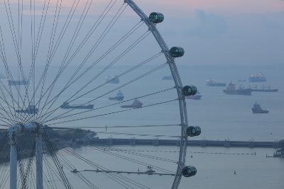 Singapore, Singapore Flyer, Giant Ferris Wheel, Elevated View, Dawn-Walter Bibikow-Photographic Print