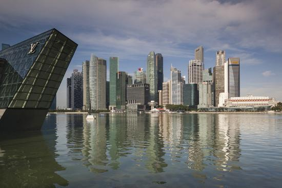Singapore, Skyline with the Louis Vuitton Floating Shop-Walter Bibikow-Photographic Print