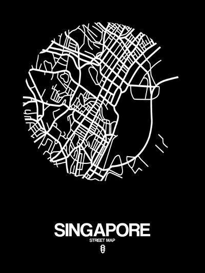 Singapore Street Map Black-NaxArt-Art Print