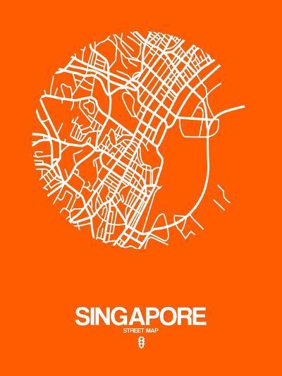 Singapore Street Map Orange-NaxArt-Art Print