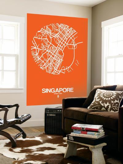 Singapore Street Map Orange-NaxArt-Wall Mural