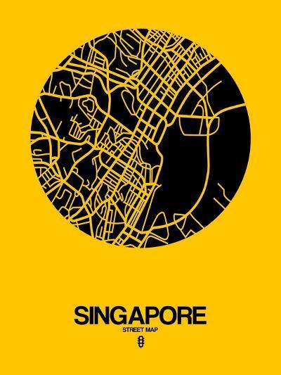 Singapore Street Map Yellow-NaxArt-Art Print