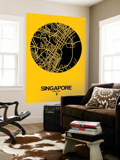 Singapore Street Map Yellow-NaxArt-Wall Mural