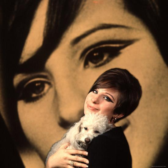 Singer and Actress Barbra Streisand Holding Small Dog in Her Arms-Bill Eppridge-Premium Photographic Print