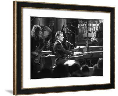 "Singer Jerry Lee Lewis Performing at Party for Film ""Great Balls of Fire,"" Based on His Life Story-David Mcgough-Framed Premium Photographic Print"