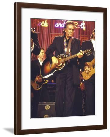 Singer Johnny Cash Performing-David Mcgough-Framed Premium Photographic Print