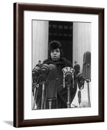 Singer Marian Anderson Conducting a Voice Test Prior to Concert on Steps of the Lincoln Memorial-Thomas D. Mcavoy-Framed Premium Photographic Print