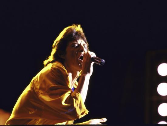 Singer Mick Jagger of the Rock Band the Rolling Stones Performing at Live  Aid Concert Premium Photographic Print by David Mcgough | Art com