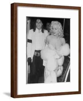 """Singers Madonna and Michael Jackson on Way to Agent Irving """"Swifty"""" Lazar's Annual Oscar Party-David Mcgough-Framed Premium Photographic Print"""