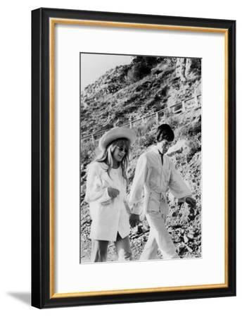 Singers Mick Jagger and Marianne Faithfull in San Remo January 29, 1967--Framed Photo
