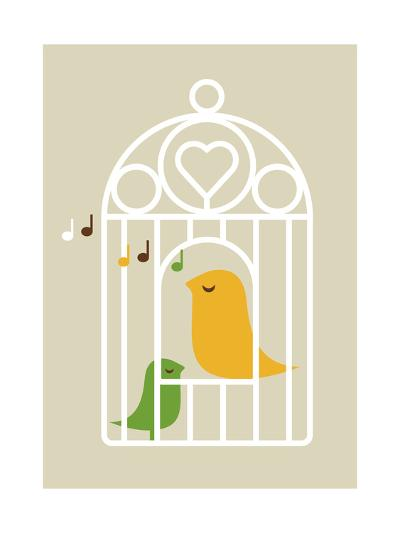 Singing Birds 2-Dicky Bird-Giclee Print