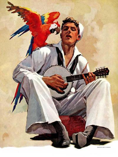 """""""Singing Sailor and Parrot,""""October 16, 1937-John E^ Sheridan-Giclee Print"""
