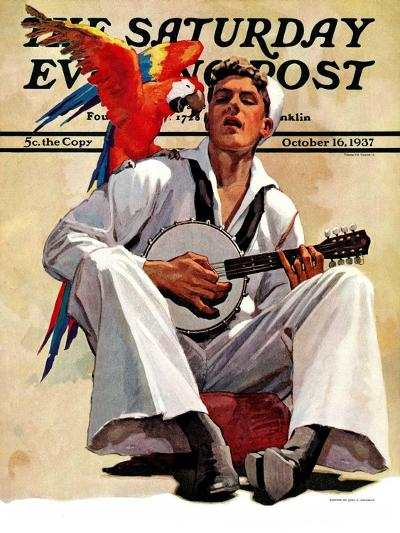 """Singing Sailor and Parrot,"" Saturday Evening Post Cover, October 16, 1937-John E^ Sheridan-Giclee Print"