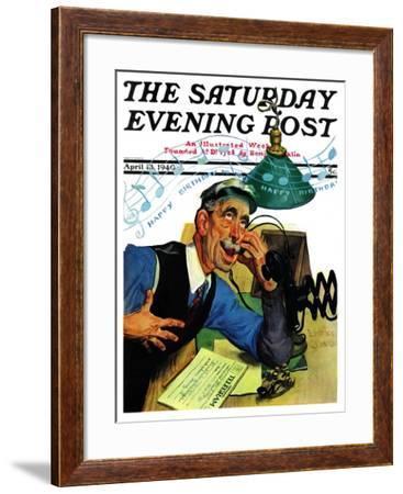 """Singing Telegram,"" Saturday Evening Post Cover, April 13, 1940-Emery Clarke-Framed Giclee Print"