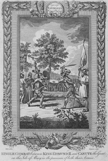 'Single Combat between King Edmund II and Canute the Great on the Isle of Abney', 1787-Unknown-Giclee Print